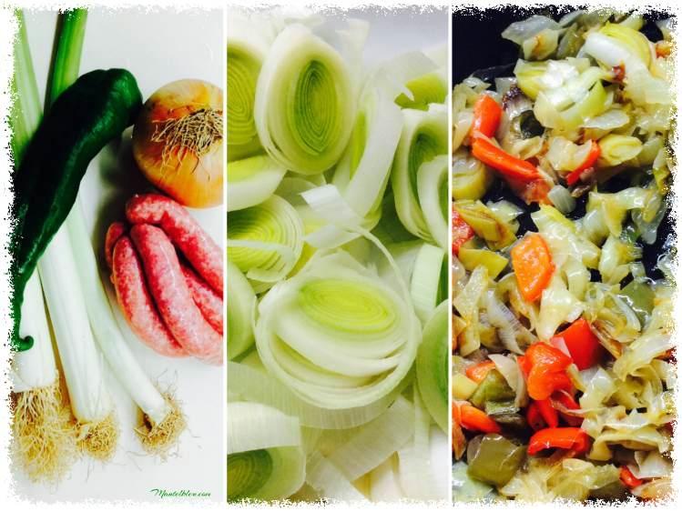 Verdura pochada con salchichas de pollo Elaboración_Fotor