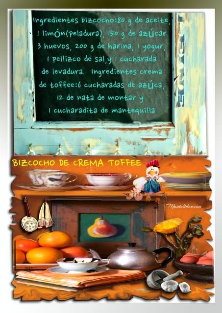 Bizcocho de crema toffee Etiqueta