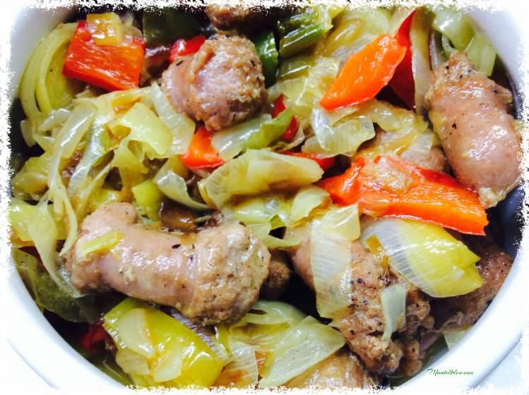Verdura pochada con salchicha de pollo 3