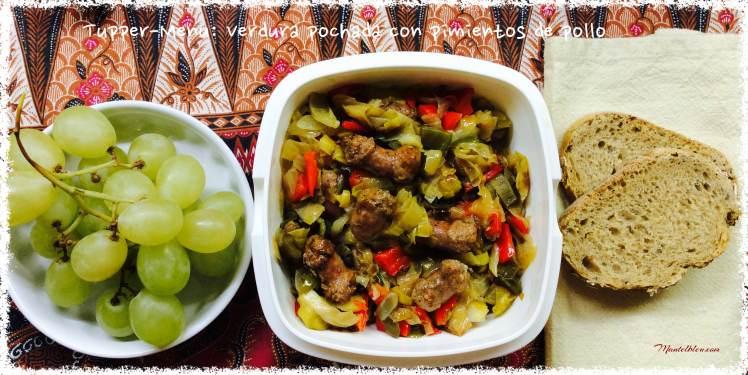 Tupper-Menú verdura ochada con salchichas de pollo