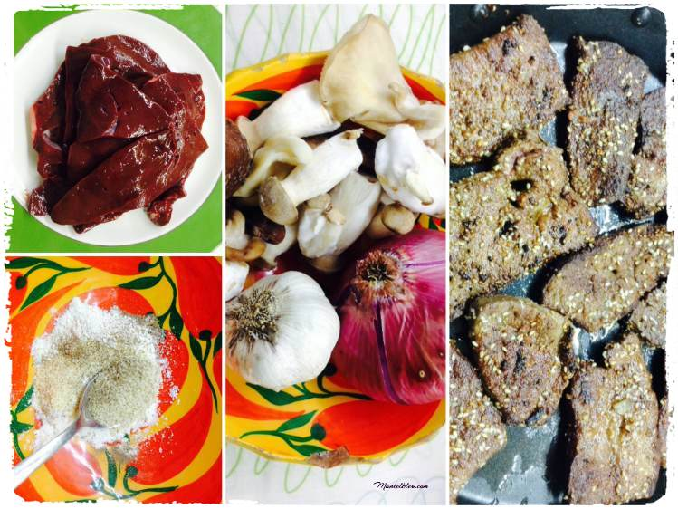 Hígado en salsa con setas salteadas Ingredientes_Fotor