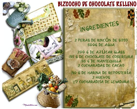 Bizcocho de chocolate relleno etiqueta