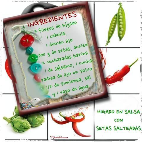 Higado en salsa con setas salteadas etiqueta
