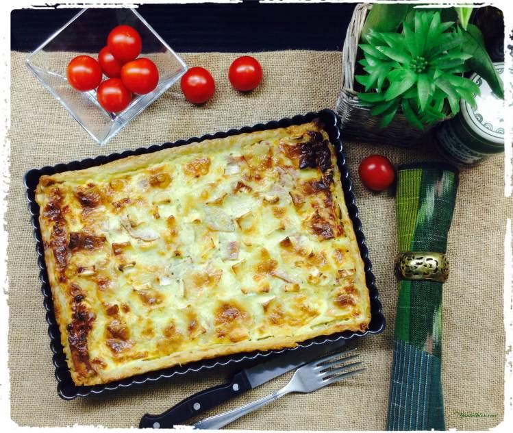 Tarta de puerro con queso Brie y pavo 2