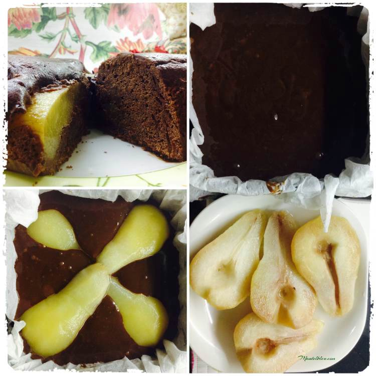Bizcocho de chocolate relleno de peras en almíbar_Fotor