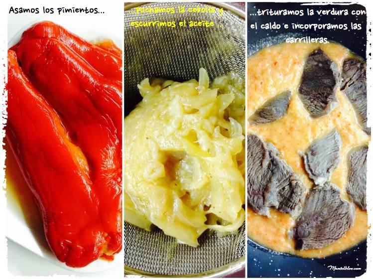Carrilleras en salsa Elaboración _Fotor