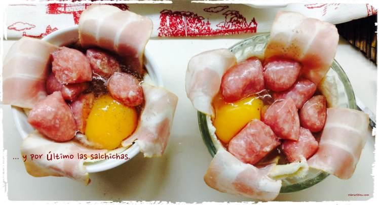 Tartaletas de huevo con salchichas. Elaboración