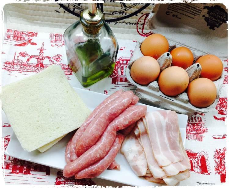 Tartaleta de huevo con salchichas de pollo Ingredientes