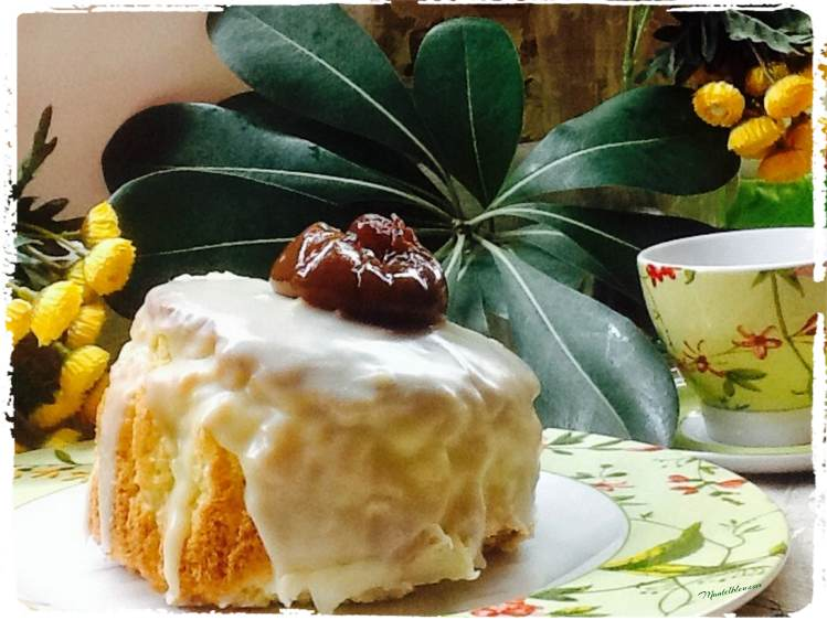 Tarta blanquita con higo