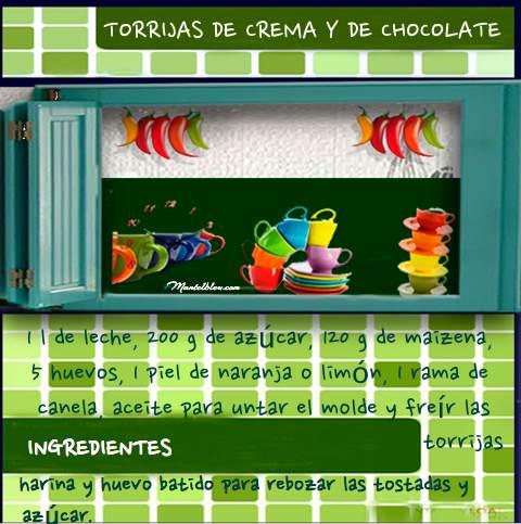 Torrujas de crema y de chocolate etiqueta