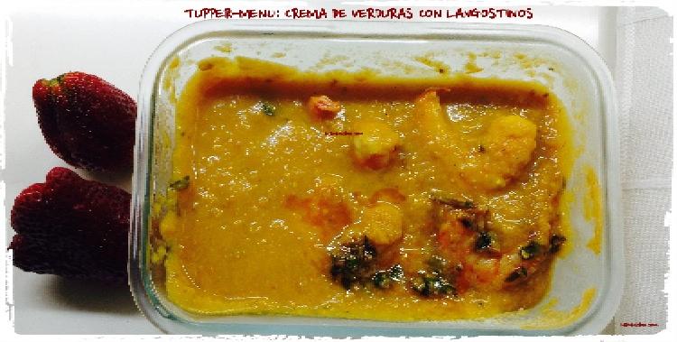 Tupper Menú crema de verduras con langostinos