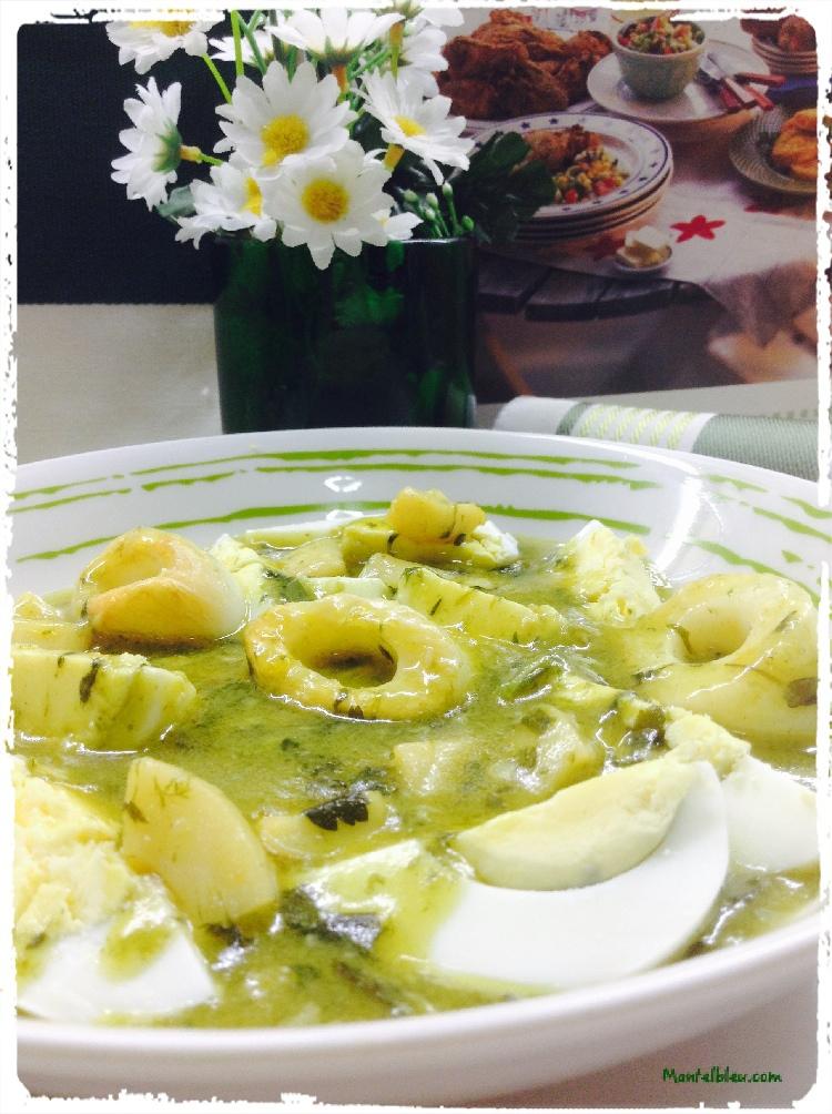 Huevos en salsa verde con aritos de calamar 2