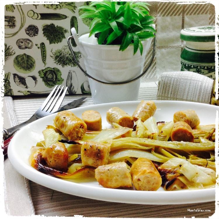 Puerros y ajetes asados con salchichas de pollo 1
