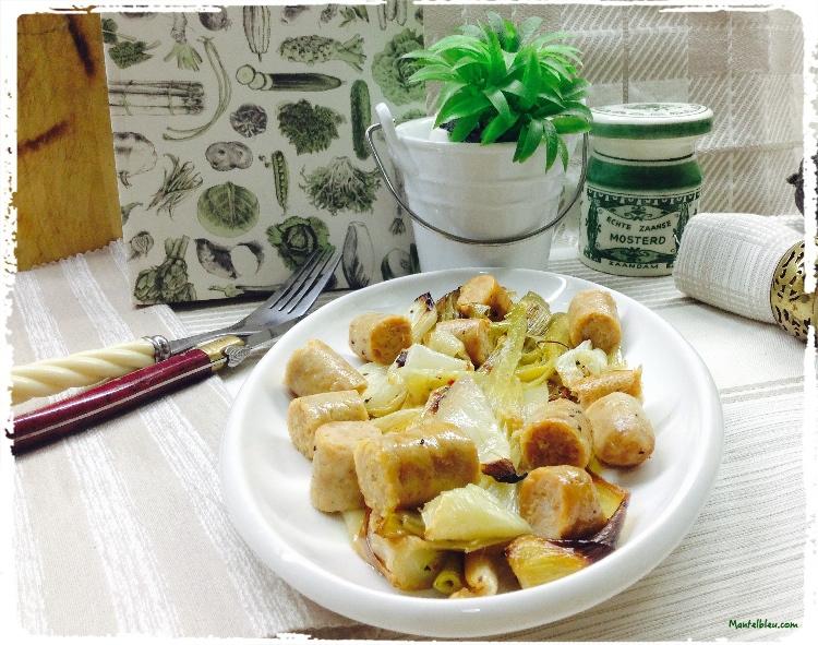Puerros y ajetes asados con salchichas de pollo 2