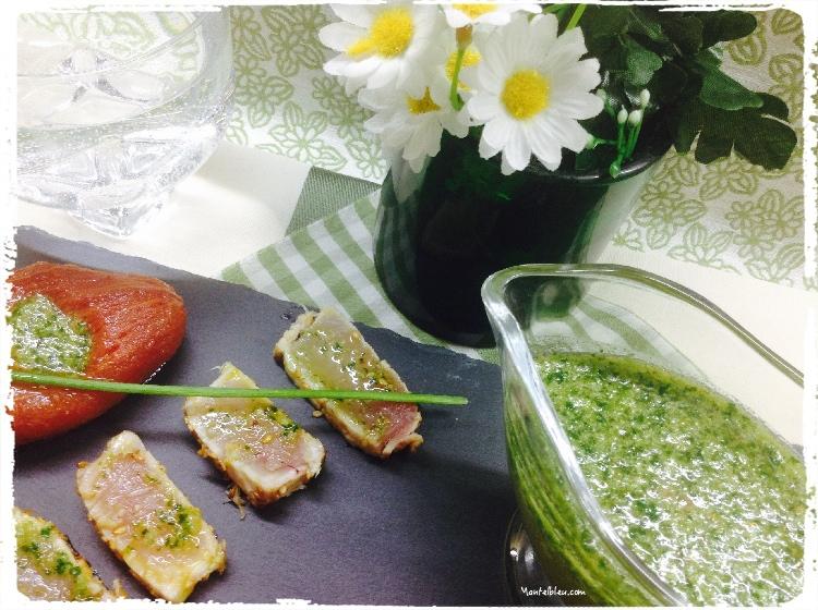 Tataki de bonito con salsa de ajo y perejil 1