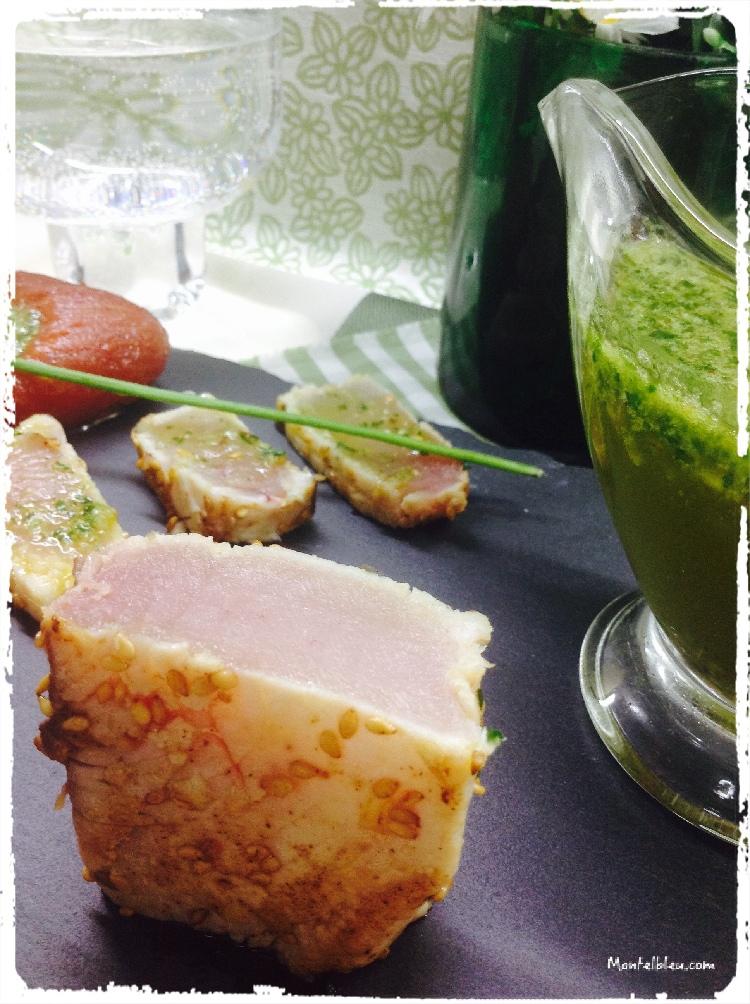 Tataki de bonito con salsa de ajo y perejil 2