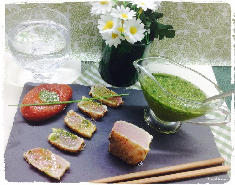 Tataki de bonito con salsa de ajo y perejil 3