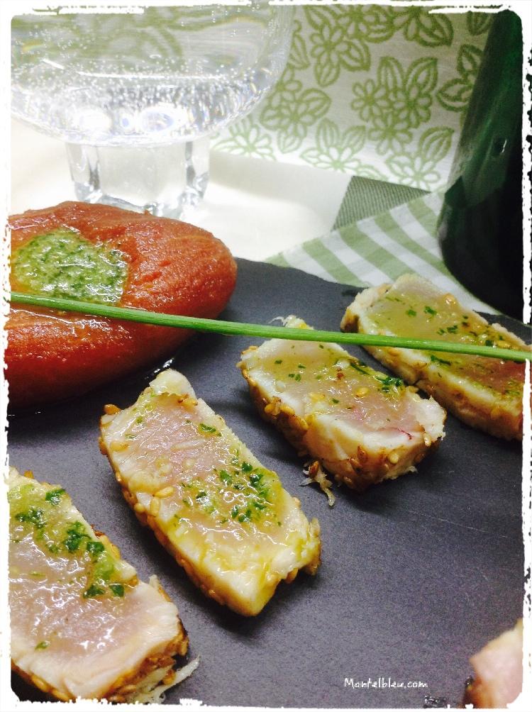 Tataki de bonito con salsa de ajo y perejil 4