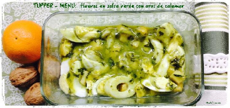 Tupper menú huevos en salsa verde