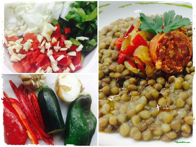 Lentejas con sofrito de verdura y chorizo Ingredientes_Fotor