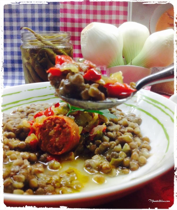 Lentejas con sofrito de verduras y chorizo 4