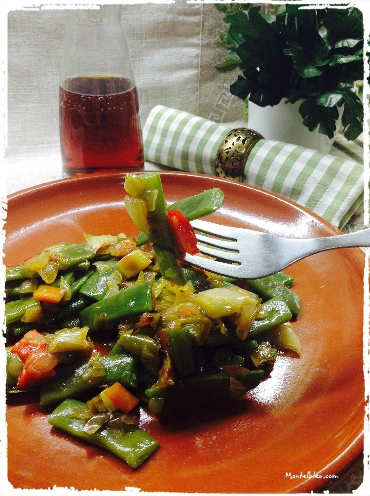 Vainas con sofrito de verduras 4
