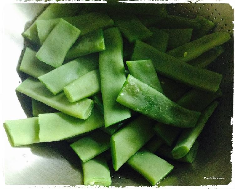 Vainas con sofrito de verduras elaboracion 1