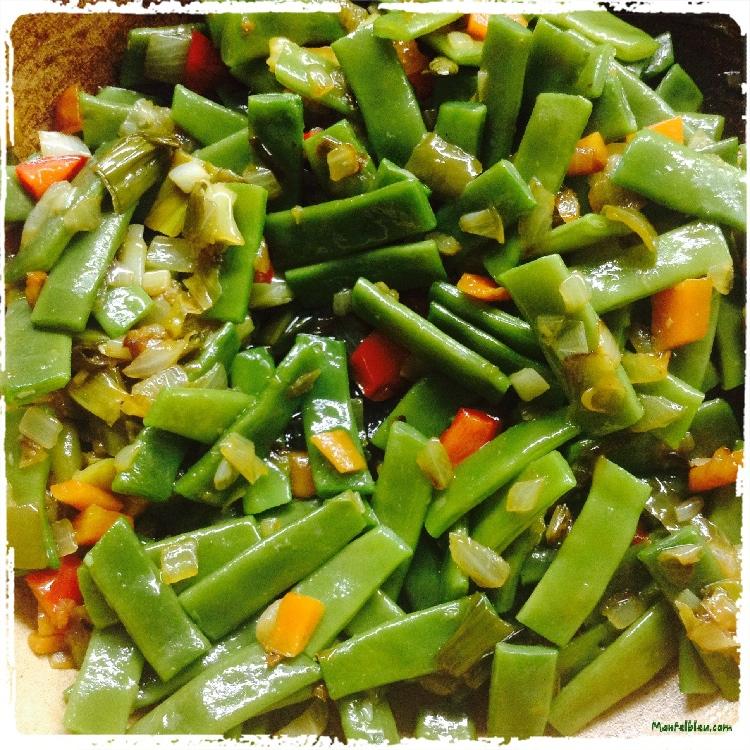 Vainas con sofrito de verduras Elaboración 3
