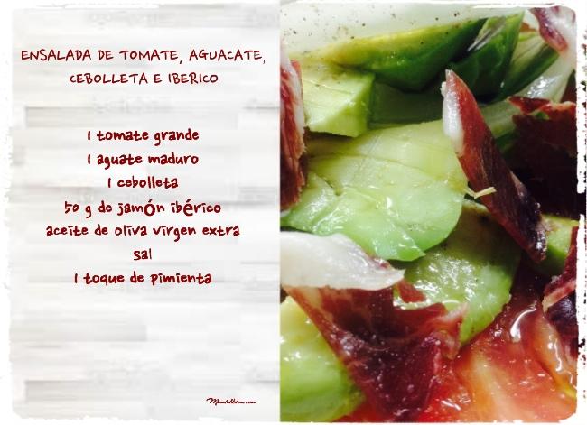 Ensalada de tomate, aguacate, cebolletas e ibérico Etiqueta_Fotor