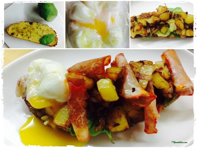 Tosta de lomo y huevo con patatas y cebolla frita Elaboración_Fotor