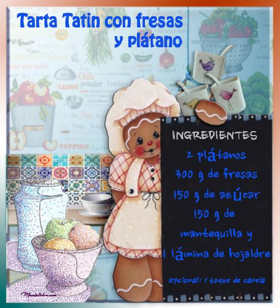 Tarta Tatín con fresas y platano Etiqueta