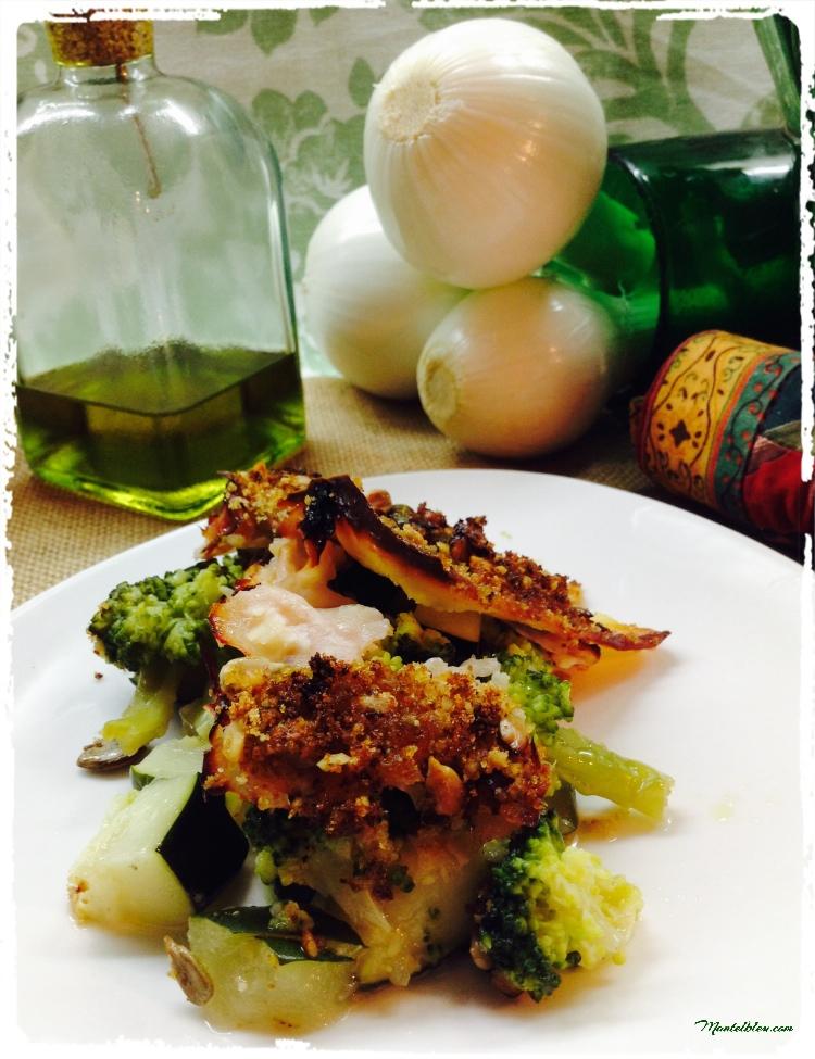 Brócoli y calabacín con cobertura crujiente de migas y nueces 1