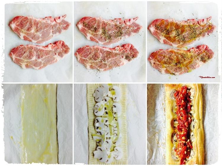 Tarta crujiente de carne con pimientos y champis elaboración 1_Fotor