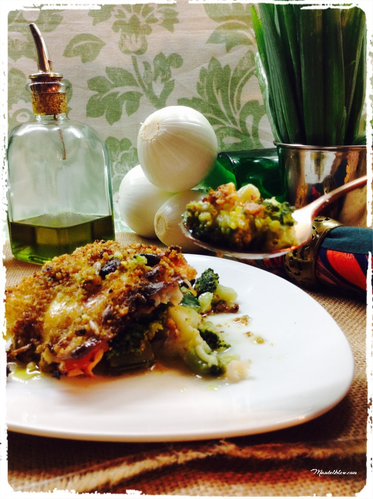 Brócoli y calabacín con cobertura crujiente de miga y nueces 4
