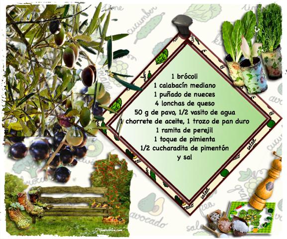 Brócoli y calabacín etiqueta