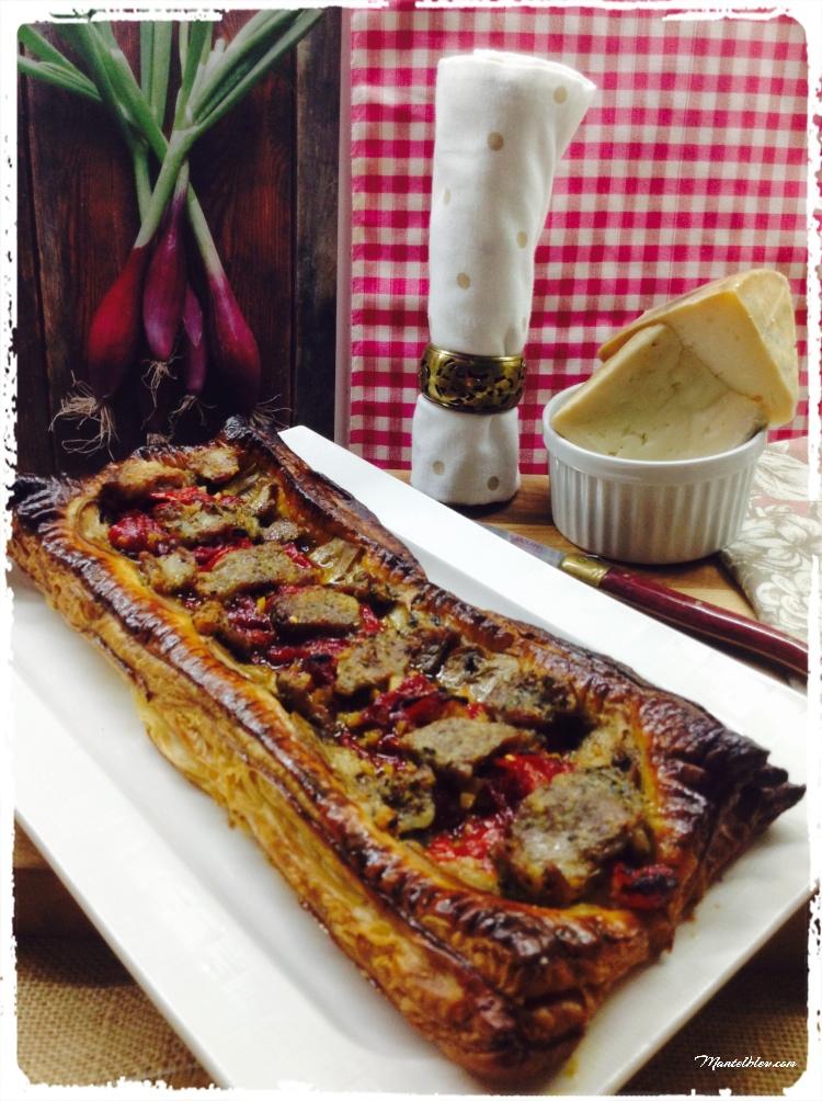 Tarta crujiente de carne con pimientos y champi 4