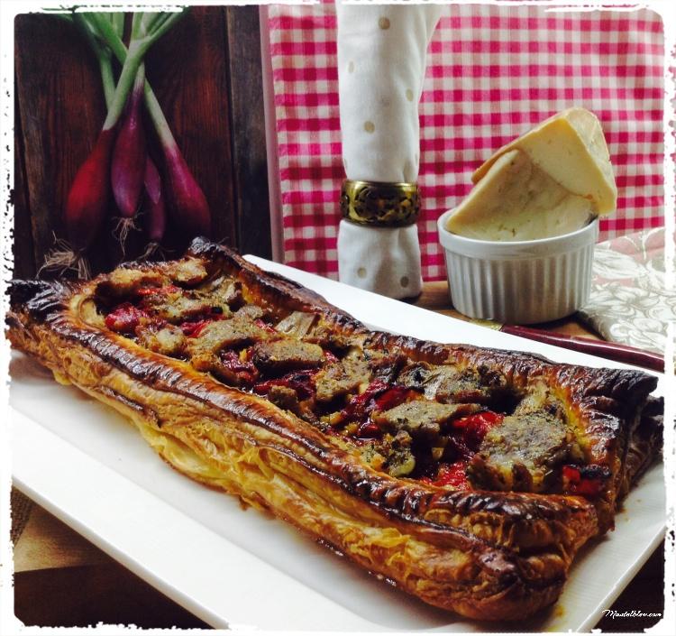 Tarta crujiente de carne con pimientos y champis 1