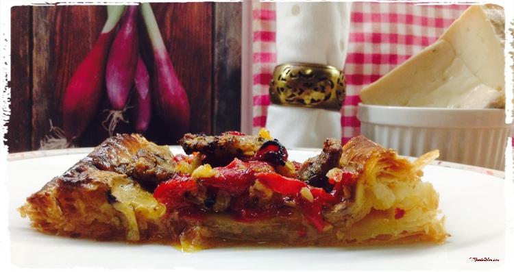 Tarta crujiente de carne con pimientos y champis 2