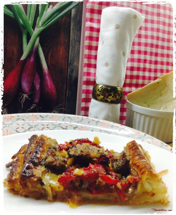 Tarta crujiente de carne con pimientos y champis 3