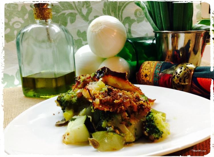 Brócoli y calabacín con corteza crujiente de miga y nueces 3